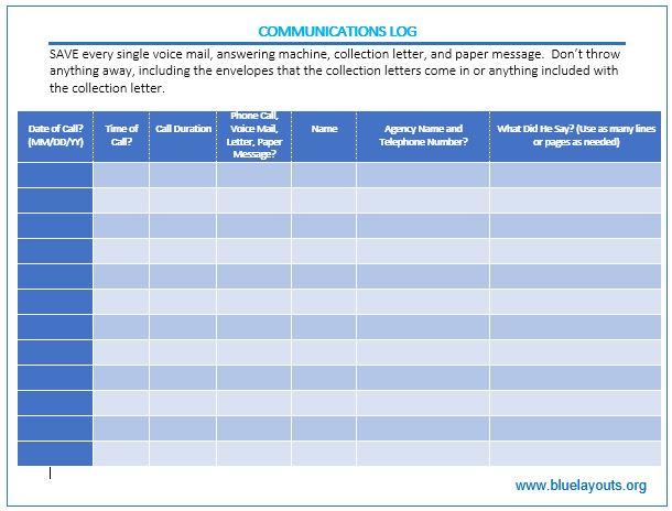 communication log template 05