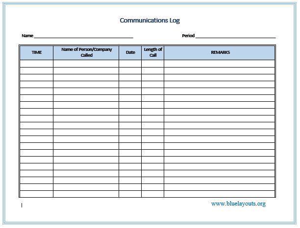communication log template 06