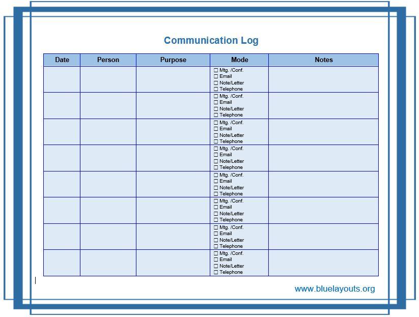 communication log template 07