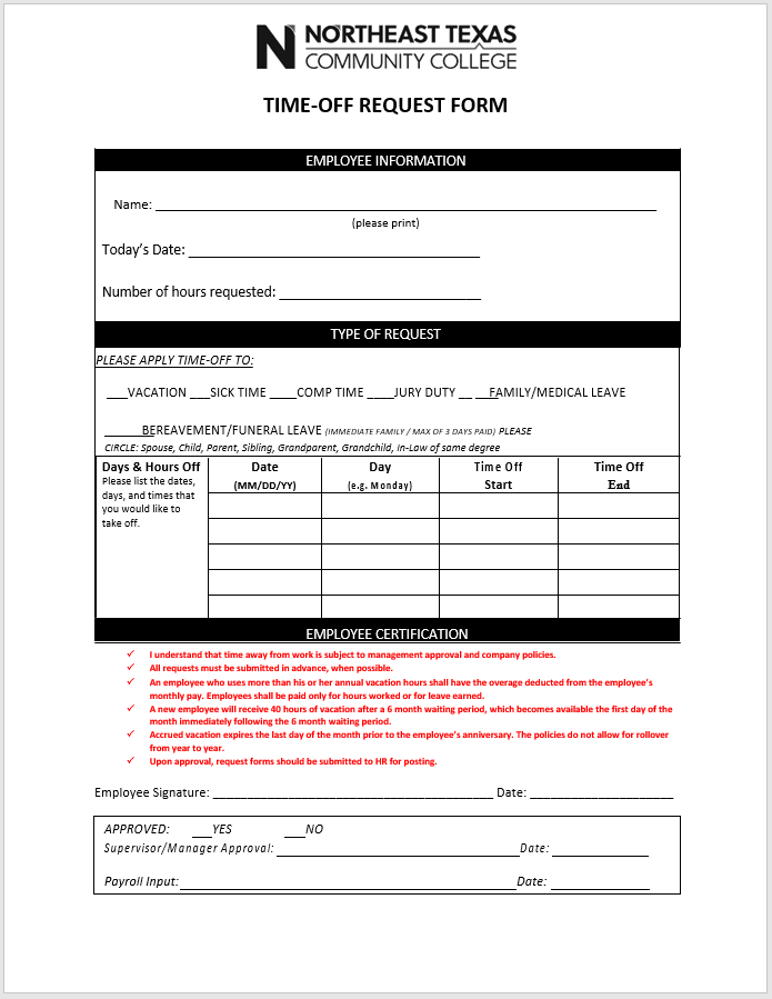time off request form template 04