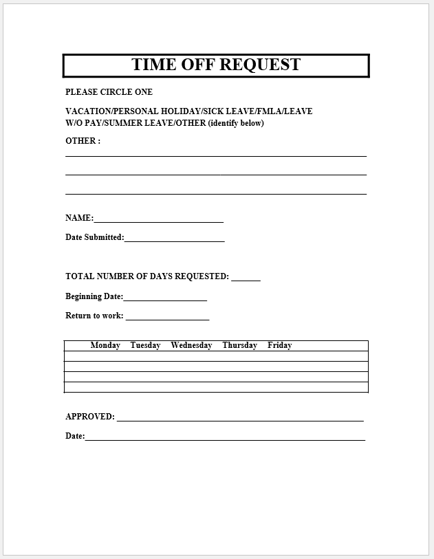 time off request form template 05