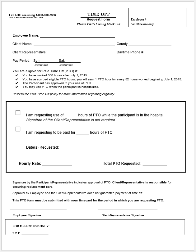 time off request form template 06