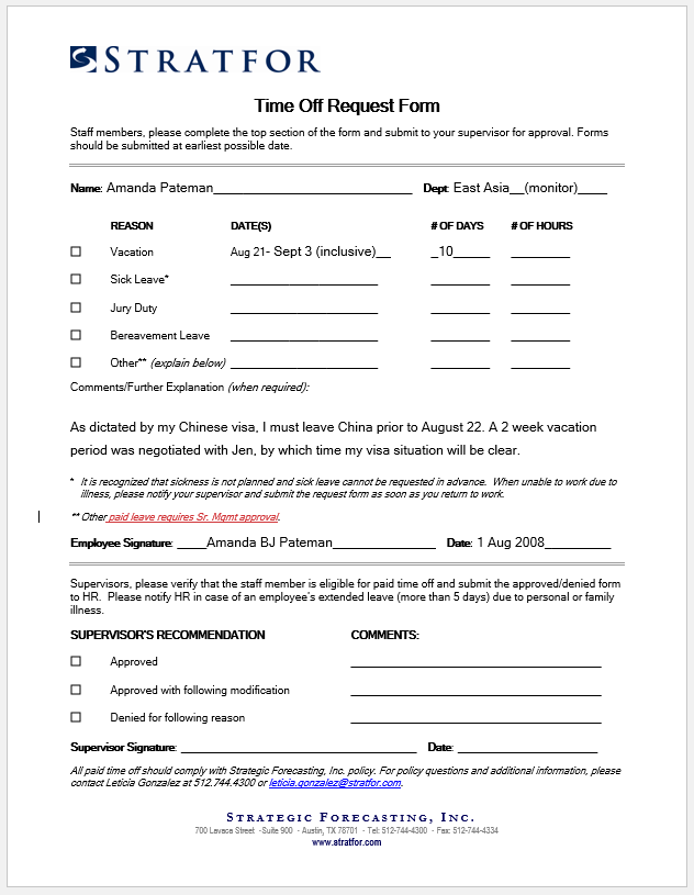 time off request form template 10