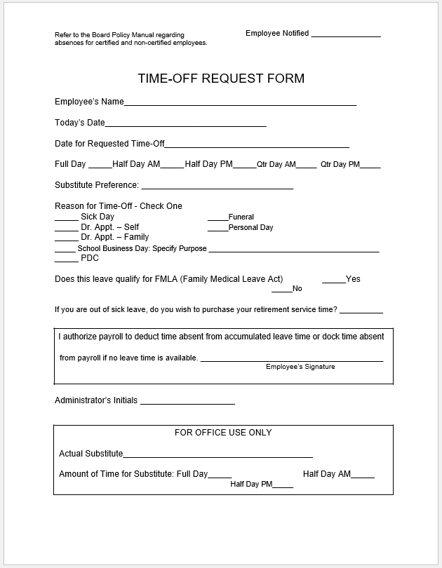 time off request form template 13