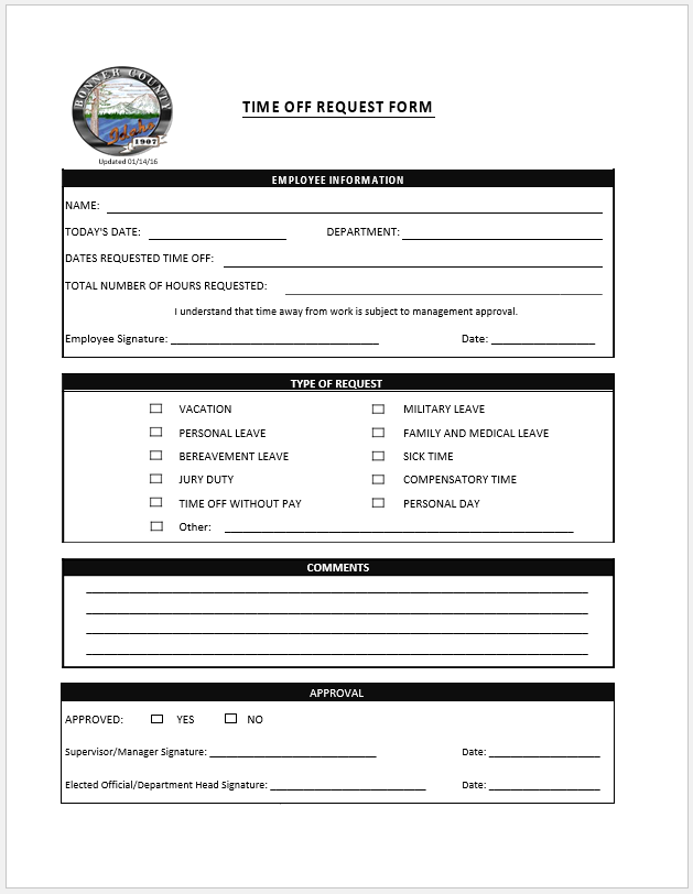 time off request form template 14