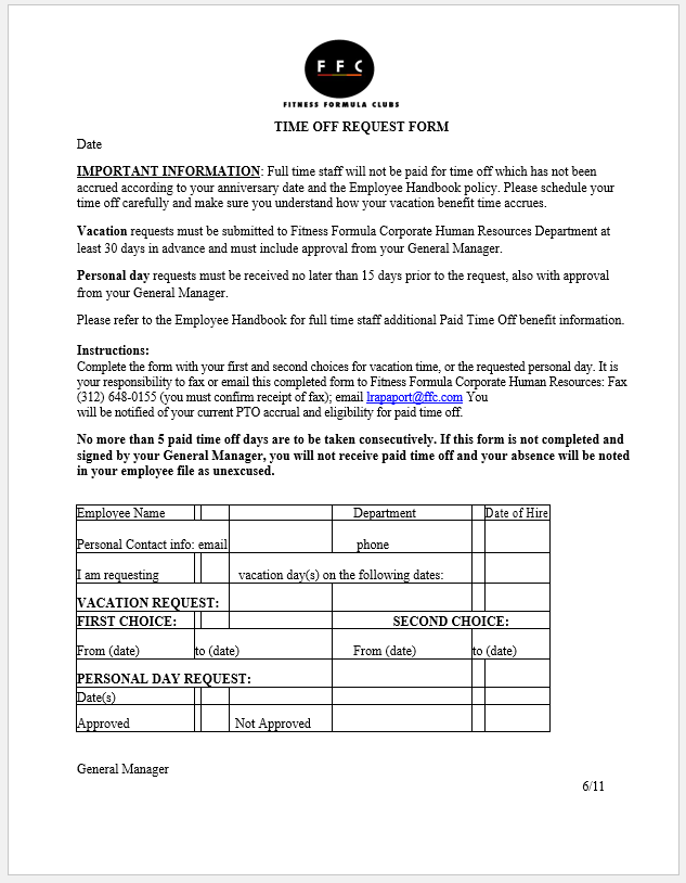 time off request form template 17