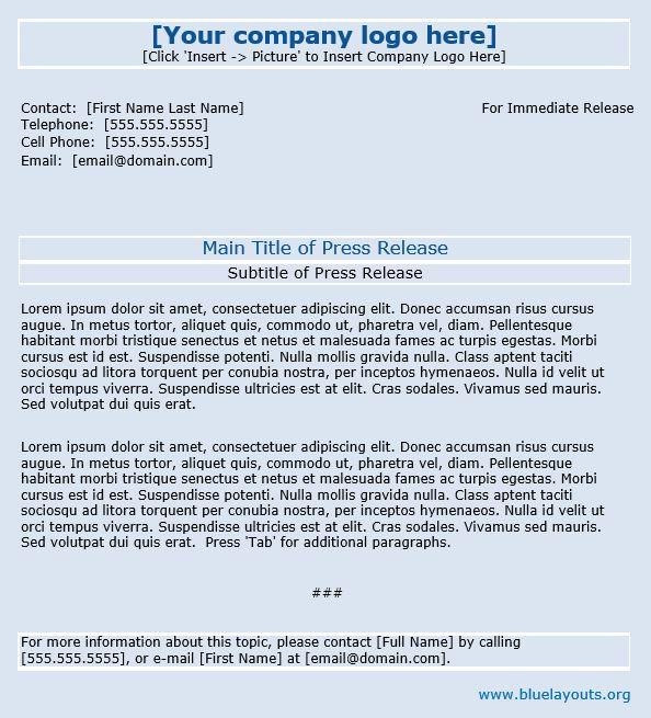 press release template 07