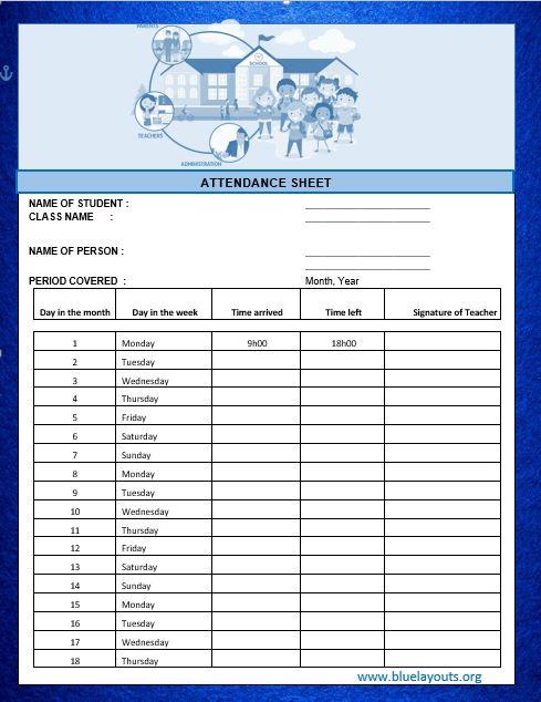 Attendance Sheet Template 08
