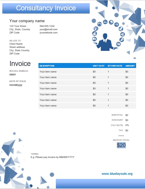 Professional Consultancy Invoice Templates 09